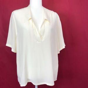 Equipment Ivory 100% Silk Short Sleeve Blouse